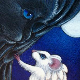 Art: BLACK ANGEL CAT & WHITE ANGEL MOUSE IN HEAVEN 2 by Artist Cyra R. Cancel