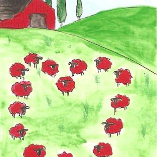Art: Sheep in Heart Formation ACEO by Artist Nancy Denommee
