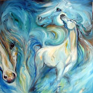 Art: BLUE MYSTIC SKY EQUINE ABSTRACT by Artist Marcia Baldwin