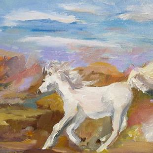 Art: IMG_white-horse6x8.JPG by Artist Delilah Smith