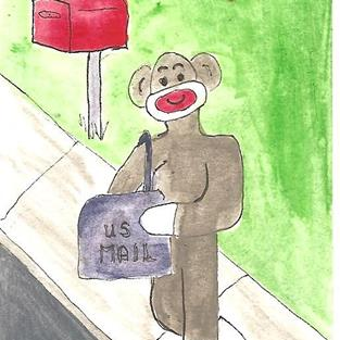 Art: Sock Monkey Delivers the Mail by Artist Nancy Denommee