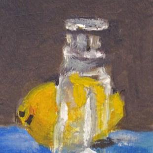 Art: Lemon and Glass Bottle Aceo by Artist Delilah Smith