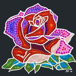 Art: Mosaic Rose by Artist Joan Hall Johnston