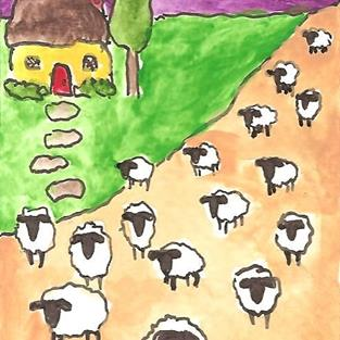 Art: Sheep By the Yellow Cottage by Artist Nancy Denommee