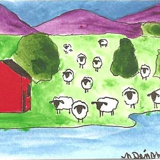 Art: Sheep with Red House by Artist Nancy Denommee