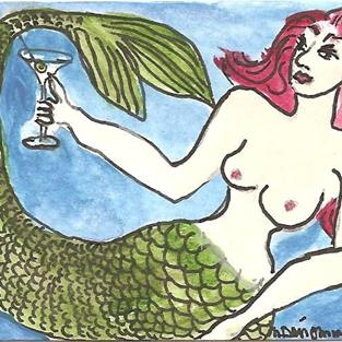 Art: Mermaid With a Martini by Artist Nancy Denommee