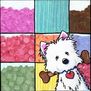 Art: Candyland Candy Shop Westie by Artist KiniArt