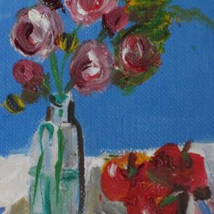 Art: Roses and Apples by Artist Delilah Smith
