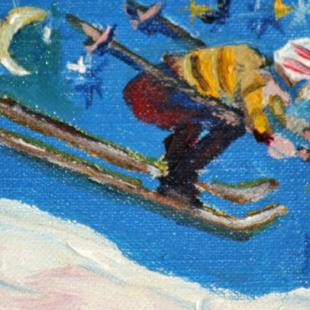 Art: Starry Night Skiier Aceo by Artist Delilah Smith
