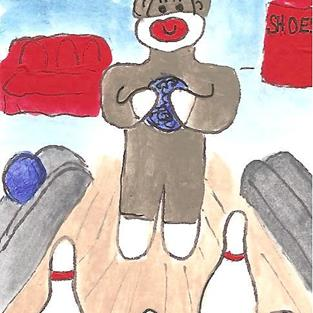 Art: Sock Monkey Goes for a Spare by Artist Nancy Denommee