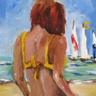 Art: Beach Diva No 7 with Sailboats by Artist Delilah Smith