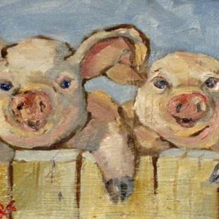 Art: Smiling Pigs by Artist Delilah Smith