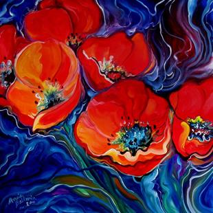 Art: RED FLORAL ABSTRACT POPPY by Artist Marcia Baldwin