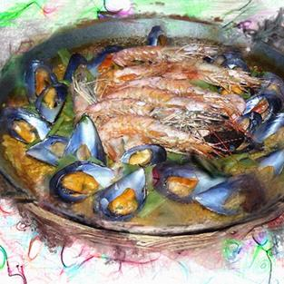 Art: Shrimp and Mussel Paella by Artist Deanne Flouton