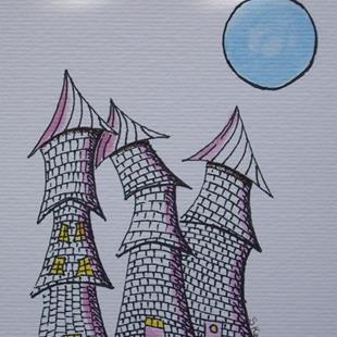 Art: Three Castle Turrets and a Blue Moon by Artist Sherry Key