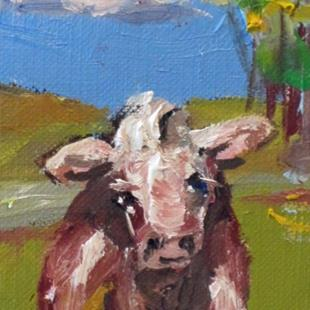 Art: Irish Cow Aceo by Artist Delilah Smith