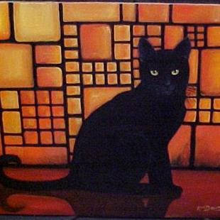 Art: STAINED GLASS CAT by Artist Rosemary Margaret Daunis