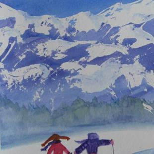 Art: Spring Ski (sold) by Artist Kathy Crawshay