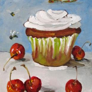 Art: Cupcake, dragonfly,cherries,and bees by Artist Delilah Smith