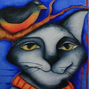 Art: Cat And Robin by Artist Deb Harvey