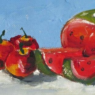 Art: Watermelon and Apples by Artist Delilah Smith