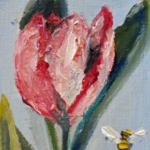 Art: Tulip Aceo with Bee by Artist Delilah Smith