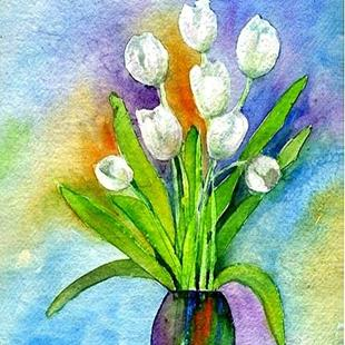 Art: White Tulips by Artist Ulrike 'Ricky' Martin