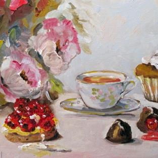 Art: Peonies and Tea Cup by Artist Delilah Smith