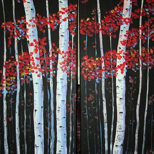 Art: Red Peace Aspens 2010 by Artist Diane Funderburg Deam
