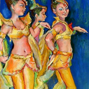 Art: Asian Dancers - Trio  by Artist Luda Angel