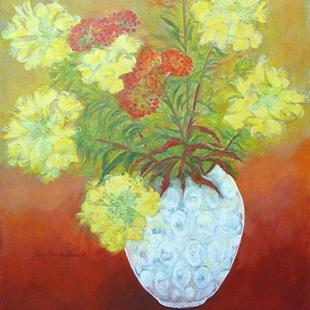 Art: Butterfly Weed and Primroses in a Bubble Vase by Artist Louise Hendry Womack