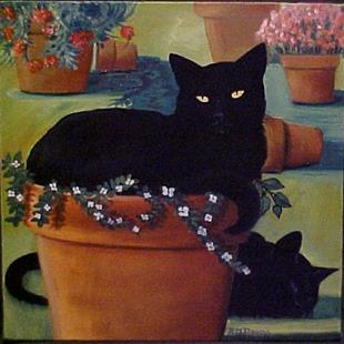 Art: POTTED CAT by Artist Rosemary Margaret Daunis
