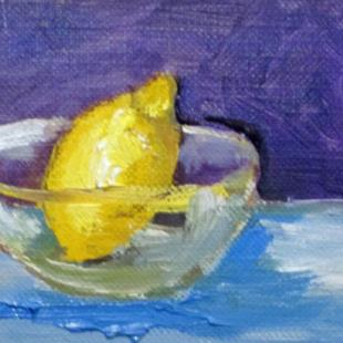 Art: Lemon in Glass Bowl Aceo-sold by Artist Delilah Smith