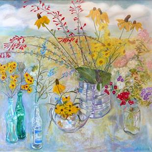 Art: Cup-Leaf Penstemmons and Friends by Artist Louise Hendry Womack
