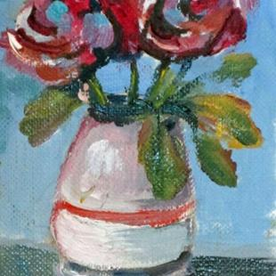 Art: Vase of Flowers Aceo by Artist Delilah Smith