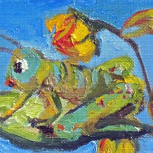 Art: Grasshopper Aceo by Artist Delilah Smith