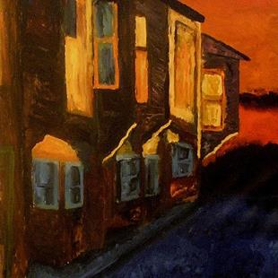 Art: Evening fasade (sold) by Artist Mats Eriksson