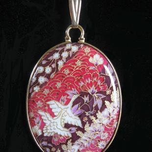 Art: Birds and Blooms Chiyogami Pendant by Artist So Jeo LeBlond