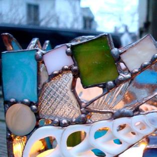 Art: Of sand and sea votive holder sold by Artist pamela jean lacasse