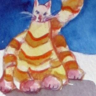 Art: Fat Cat Aceo-sold by Artist Delilah Smith