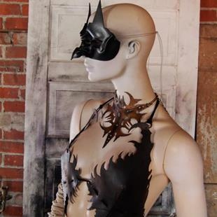 Art: leather mask - Owl Witch  by Artist Barbara Doherty (MidnightZodiac Leather)