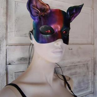 Art: Rainbow leather cat mask by Artist Barbara Doherty (MidnightZodiac Leather)