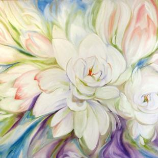 Art: WHITE FLORAL ABSTRACT by Artist Marcia Baldwin