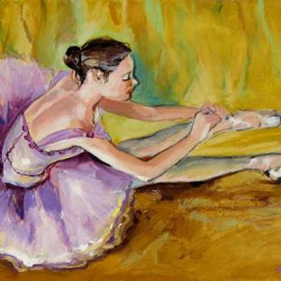 Art: Sitting ballerina by Artist Luda Angel
