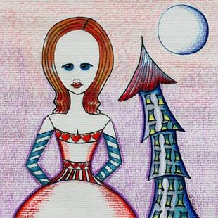 Art: Alice, Castle Turret, Moon, Hearts by Artist Sherry Key