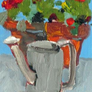 Art: Watering Can Pots and Flowers Aceo by Artist Delilah Smith