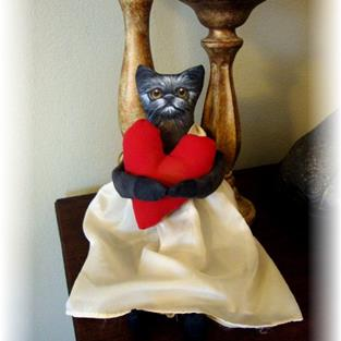 Art: PRIMITIVE BLACK CAT WITH HEART by Artist Cyra R. Cancel