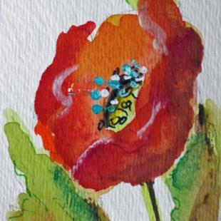 Art: Red Poppy  Aceo by Artist Delilah Smith