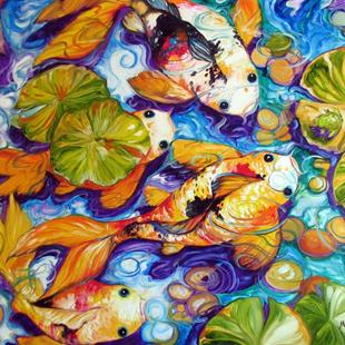 Art: FROG FRIEND KOI POND by Artist Marcia Baldwin