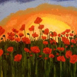 Art: Field of poppies by Artist Mats Eriksson